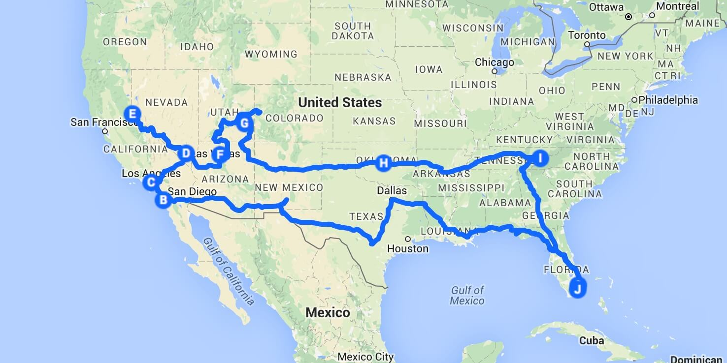 carte usa road trip
